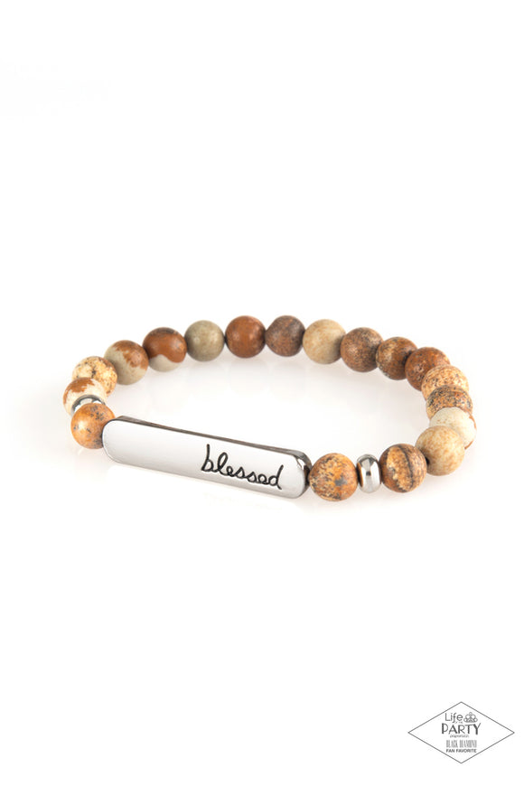 Paparazzi Born Blessed - Brown - Natural Stone Bracelet - Black Diamond Exclusive 2020