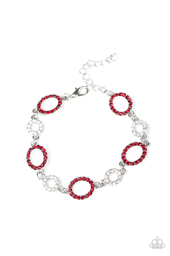 Paparazzi Bubbly Bedazzle - Red - and White Rhinestones - Adjustable Bracelet