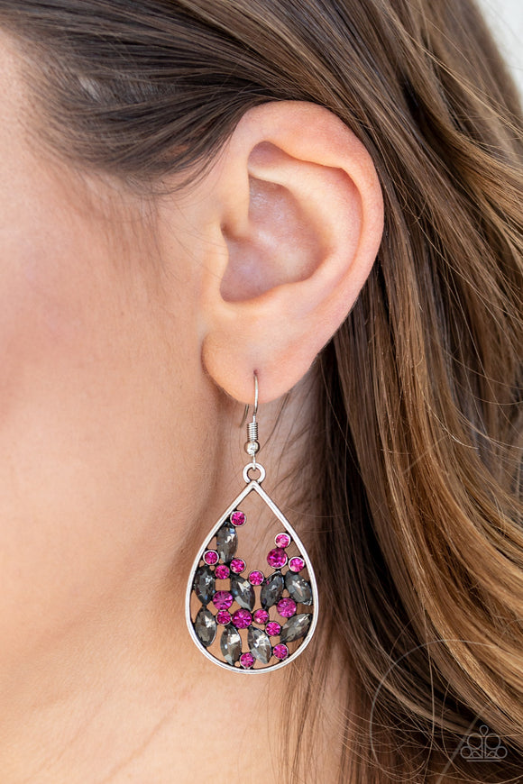 Paparazzi Cash or Crystal? - Pink - Smoky Marquise Rhinestones - Silver Teardrop Earrings - Lauren's Bling $5.00 Paparazzi Jewelry Boutique