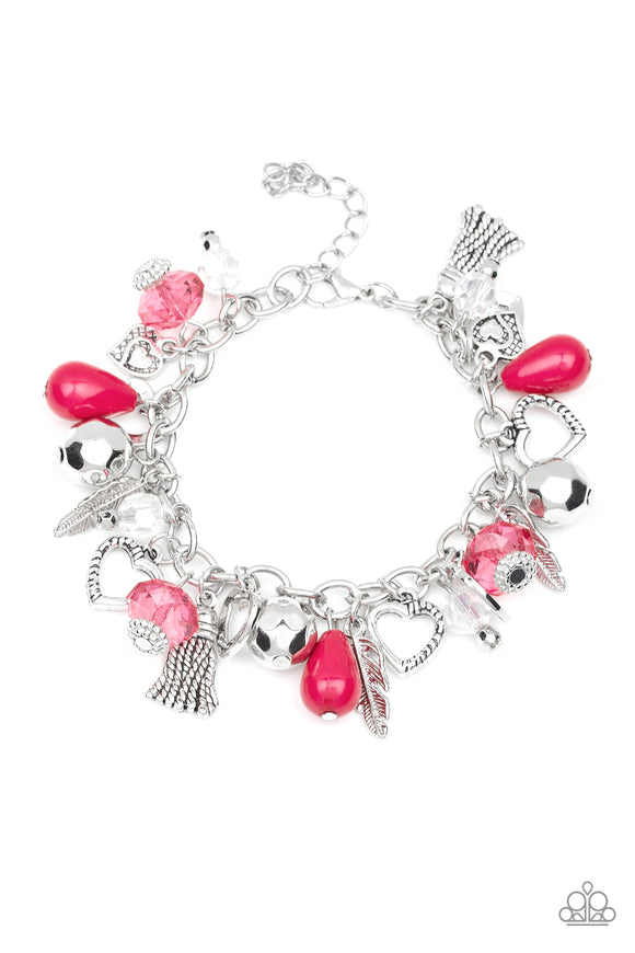 Paparazzi Completely Innocent - Pink Beads - Heart, Feathers, Tassel Charms - Bracelet - 2019 Convention Exclusive