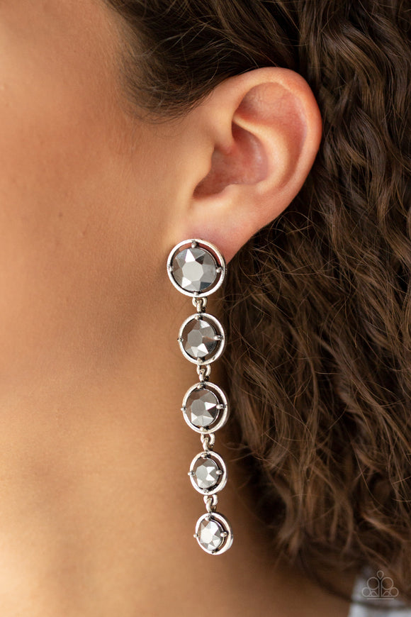 Paparazzi Drippin In Starlight - Silver - Faceted Hematite Gems - Post Earrings - Lauren's Bling $5.00 Paparazzi Jewelry Boutique