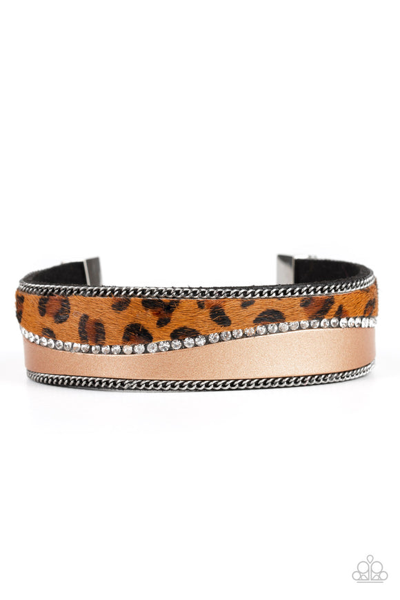 Paparazzi Flirtatiously Feline - Brown - Leather and Cheetah Print - White Rhinestones - Bracelet - Life of the Party Exclusive October 2019