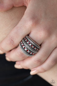 Paparazzi Girl Fight - Red Rhinestones - Thick Band Shimmery Studs - Ring - Lauren's Bling $5.00 Paparazzi Jewelry Boutique