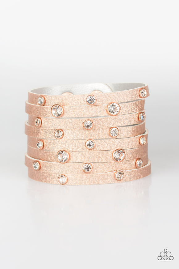 Paparazzi Go-Getter Glamorous - Copper - White Rhinestones - Thick Eight Strip Wrap / Snap Bracelet