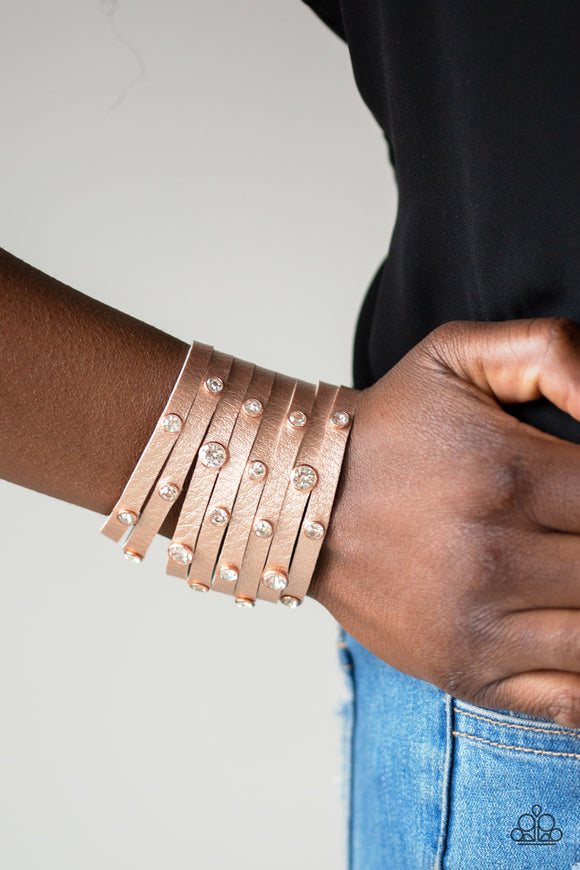 Paparazzi Go-Getter Glamorous - Copper - White Rhinestones - Thick Eight Strip Wrap / Snap Bracelet - Lauren's Bling $5.00 Paparazzi Jewelry Boutique