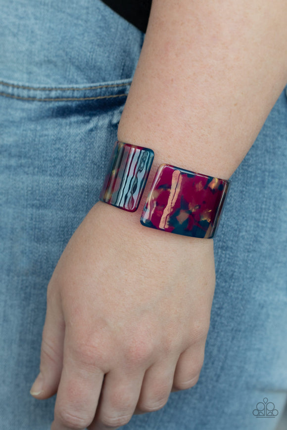 Paparazzi Groovy Vibes - Multi - Blue & Purple Iridescent Acrylic Cuff Bracelet - Lauren's Bling $5.00 Paparazzi Jewelry Boutique