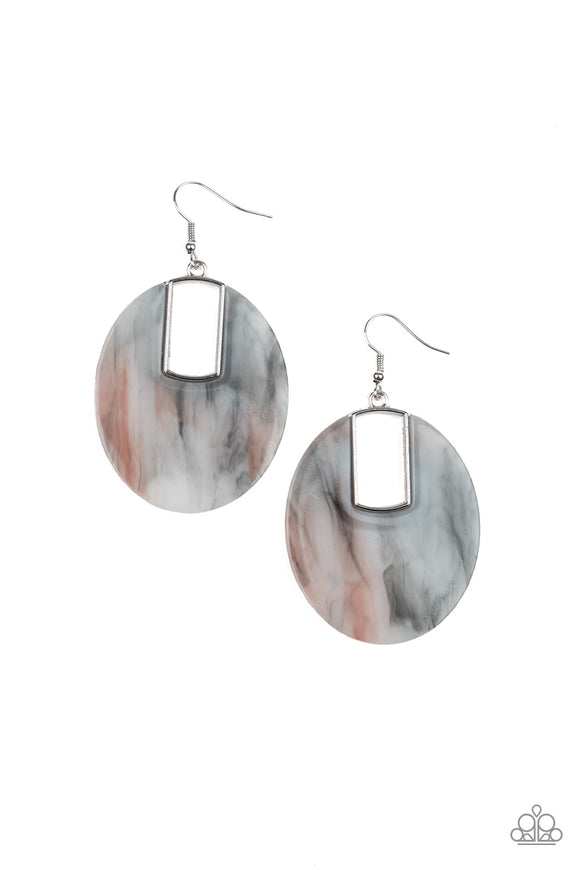 Paparazzi Haute Heiress - Multi - Faux Marble - Smoky Acrylic - Earrings