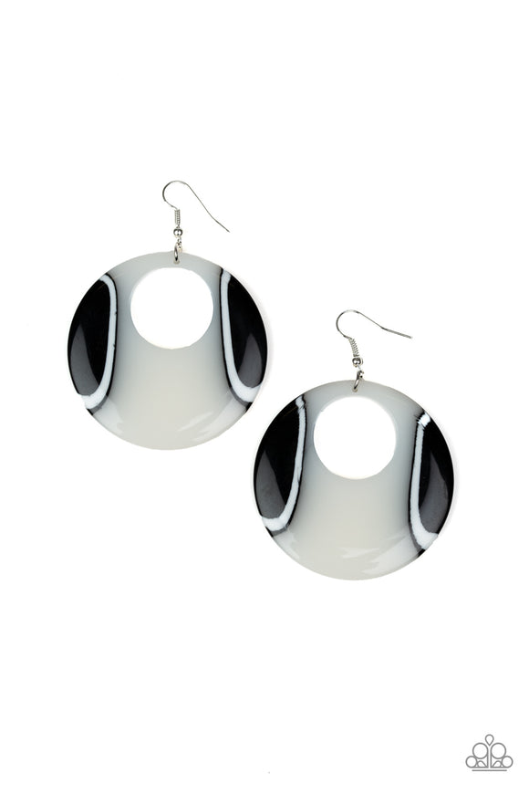 Paparazzi HAUTE Topic - White and Black - Shiny Acrylic Hoop Earrings - Life of the Party Exclusive August 2019