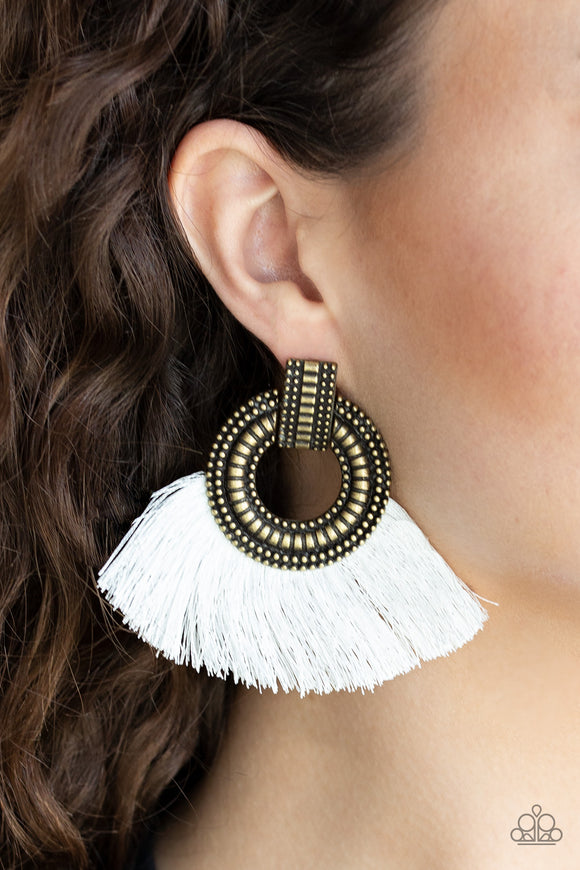 Paparazzi I Am Spartacus - Brass - White Thread / Fringe / Tassel - Earrings