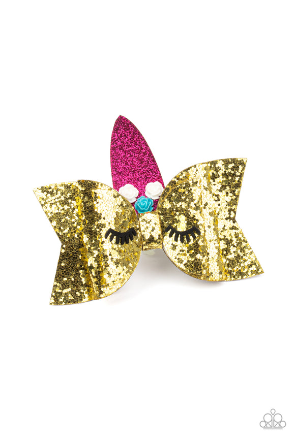 Paparazzi Just Be a YOU-nicorn - GOLD - Unicorn Hair Clip / Bow