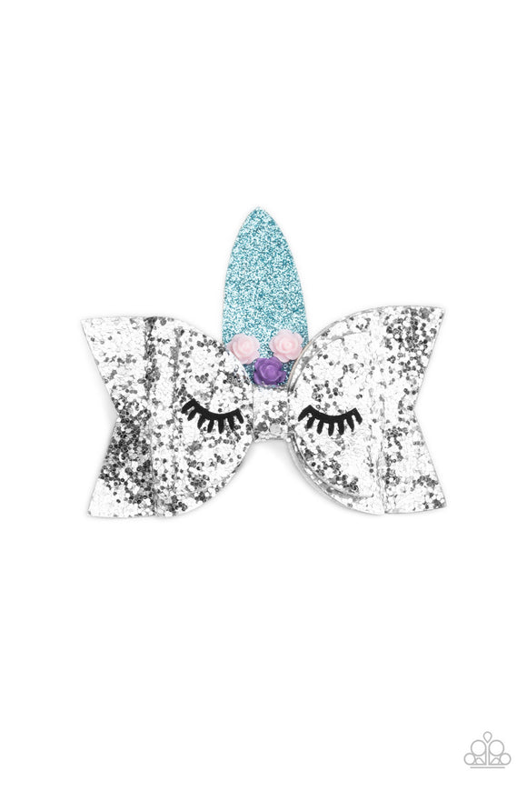 Paparazzi   Just Be a YOU-nicorn - SILVER - Pink & Purple Roses - Unicorn Hair Clip / Bow