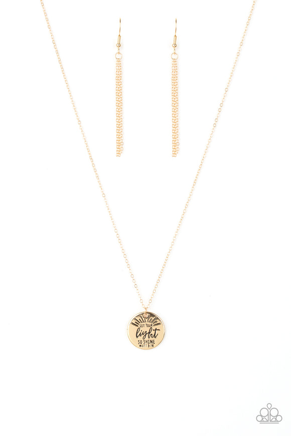 Paparazzi Let Your Light So Shine - Gold - Inspirational Necklace and matching Earrings