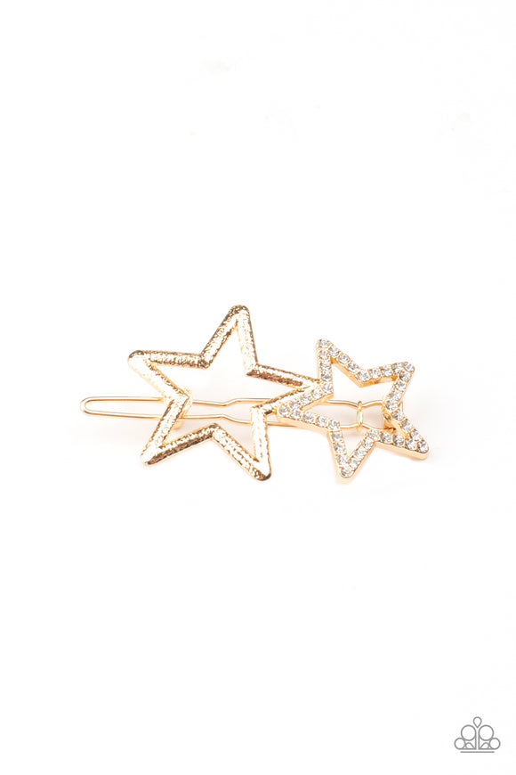 Paparazzi Lets Get This Party STAR-ted! - Gold - White Rhinestones - Hair Clip