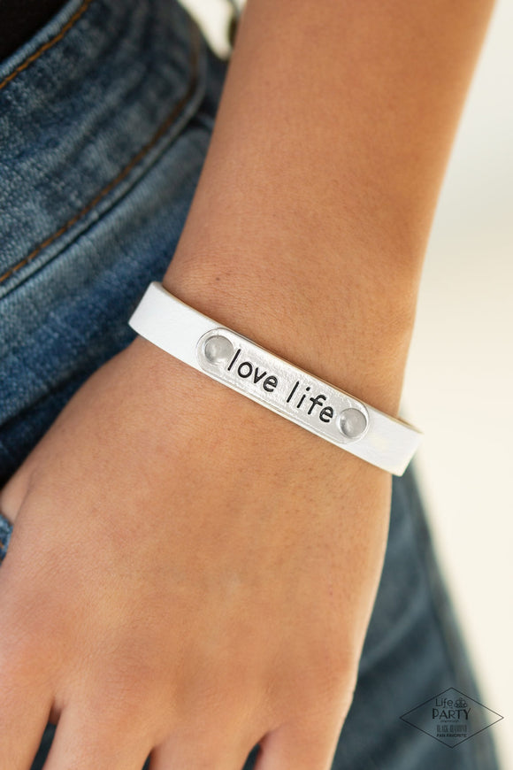 Pre-Order ships 4/8 Paparazzi Love Life - White Leather - Inspirational Bracelet - Life of the Party Exclusive