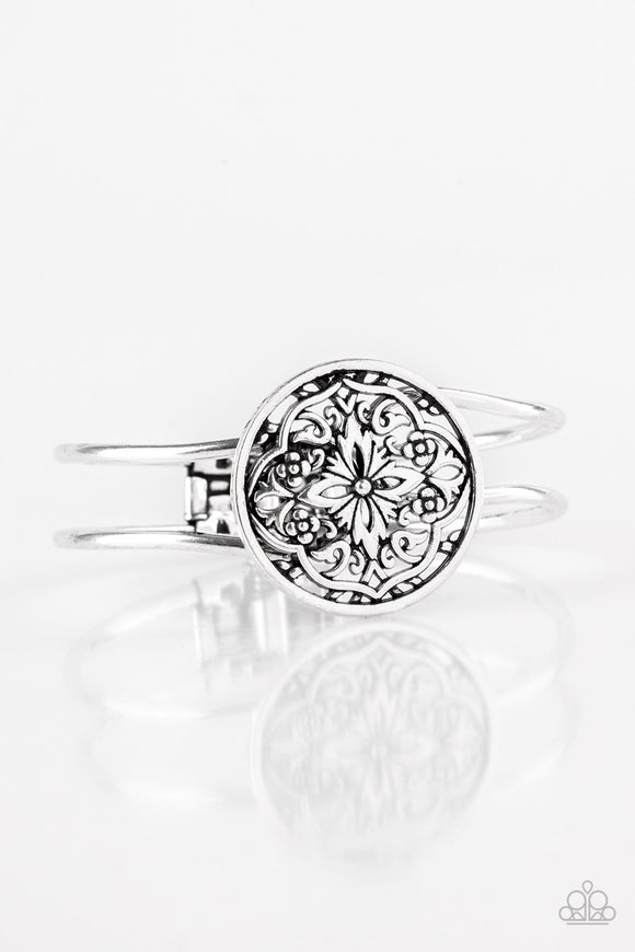 Paparazzi Mandala Majesty - Silver - Filigree - Hinged Bracelet - Lauren's Bling $5.00 Paparazzi Jewelry Boutique