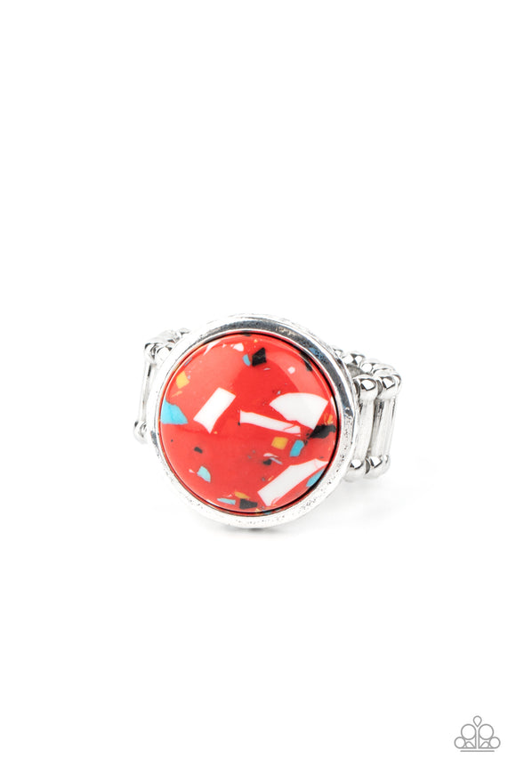 Paparazzi Marble Mosaic - Red - Ring