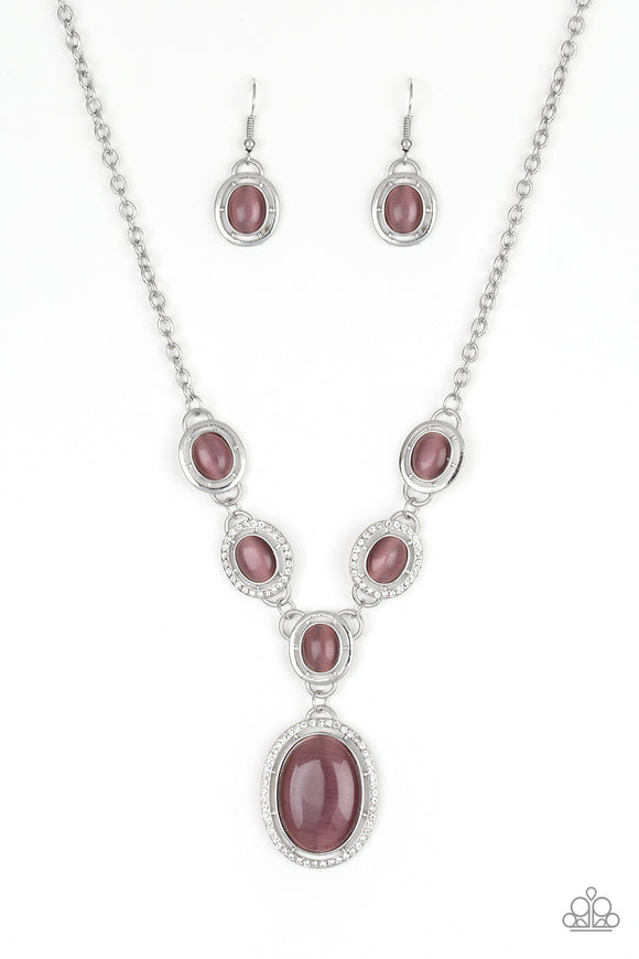 Paparazzi Metro Medallion - Purple - Cat's Eye Moonstone - Rhinestones - Necklace and matching Earrings