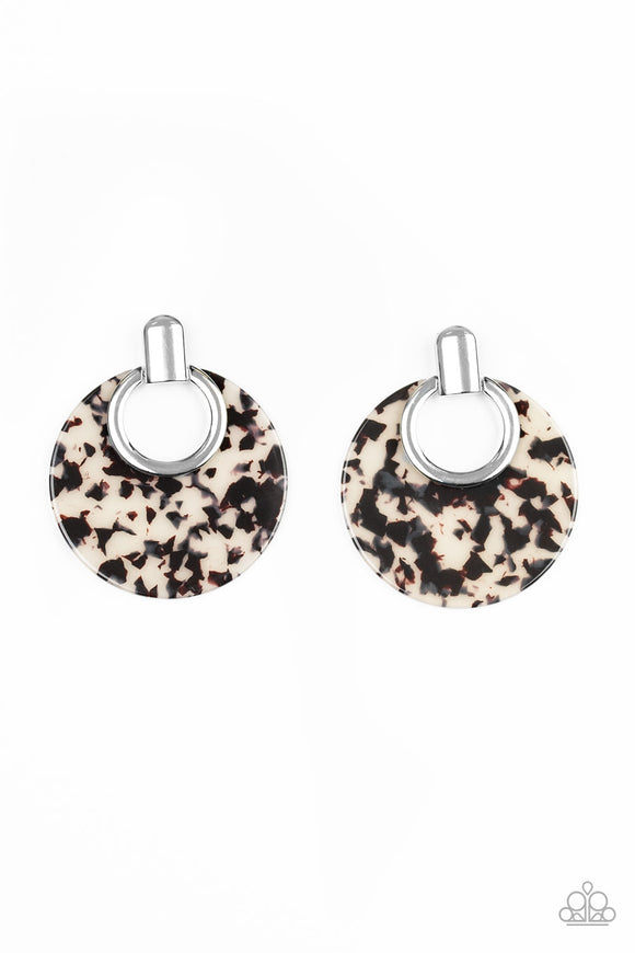 Paparazzi Metro Zoo - White - Speckled Acrylic Frame - Silver Earrings - Lauren's Bling $5.00 Paparazzi Jewelry Boutique