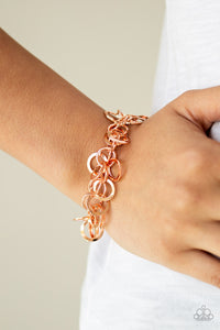 Paparazzi Noise Control - Copper - Rings Dangle from Shiny Chain - Bracelet - Lauren's Bling $5.00 Paparazzi Jewelry Boutique