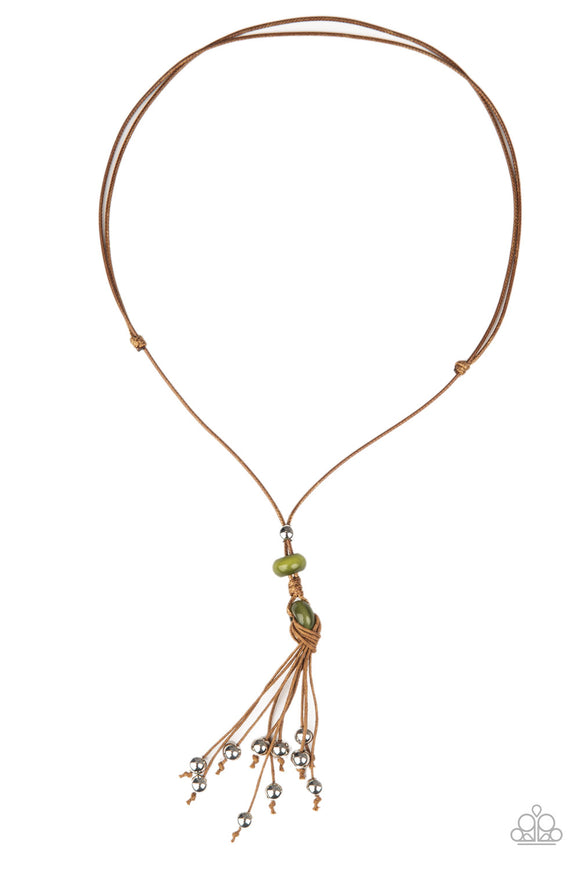 Paparazzi Ocean Child - Green - Silver Beaded Tassels - Necklace