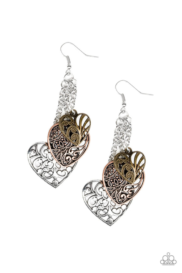 Paparazzi Once Upon A Heart - Multi - Silver Chains - Brass, Copper and Silver Filigree Hearts - Earrings