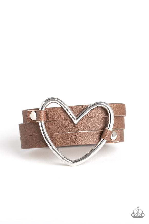 Paparazzi One Love, One Heart - Brown Leather - Silver Heart - Bracelet