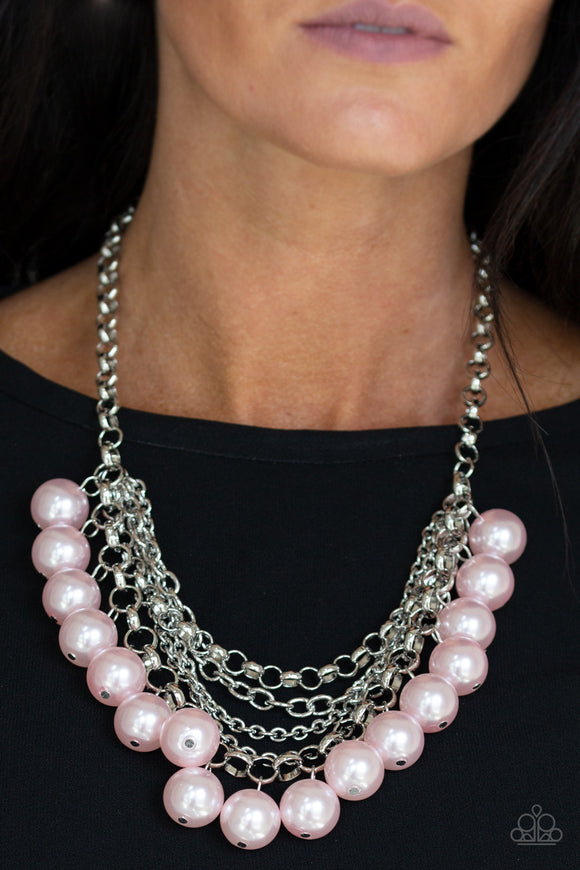 Paparazzi One-Way WALL STREET - Pink Pearls - Silver Chain Necklaces & Earrings - Lauren's Bling $5.00 Paparazzi Jewelry Boutique