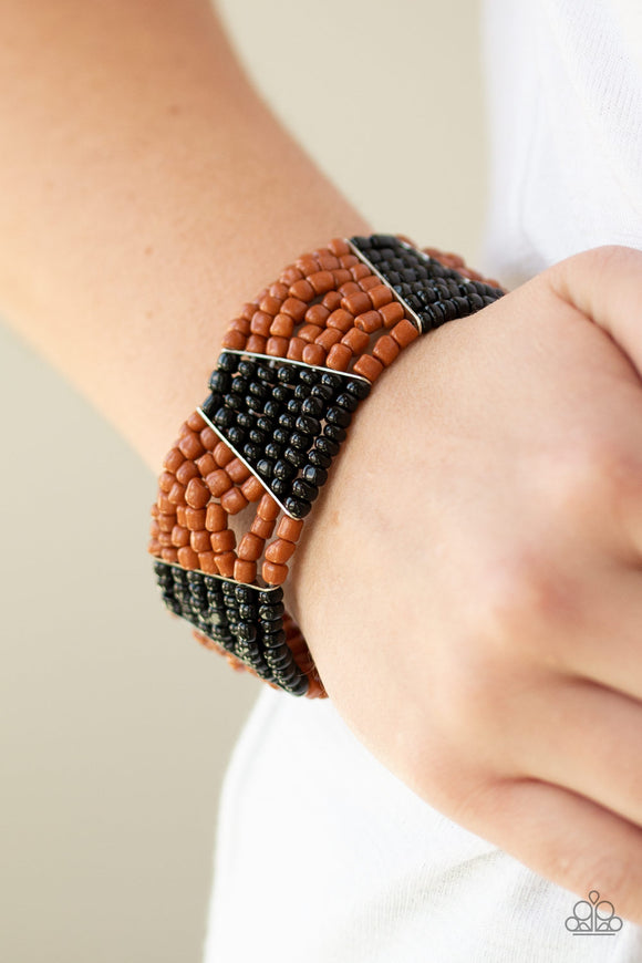 Paparazzi Outback Outing - Black - Brown Seed Beads - Stretchy Band Bracelet - Lauren's Bling $5.00 Paparazzi Jewelry Boutique