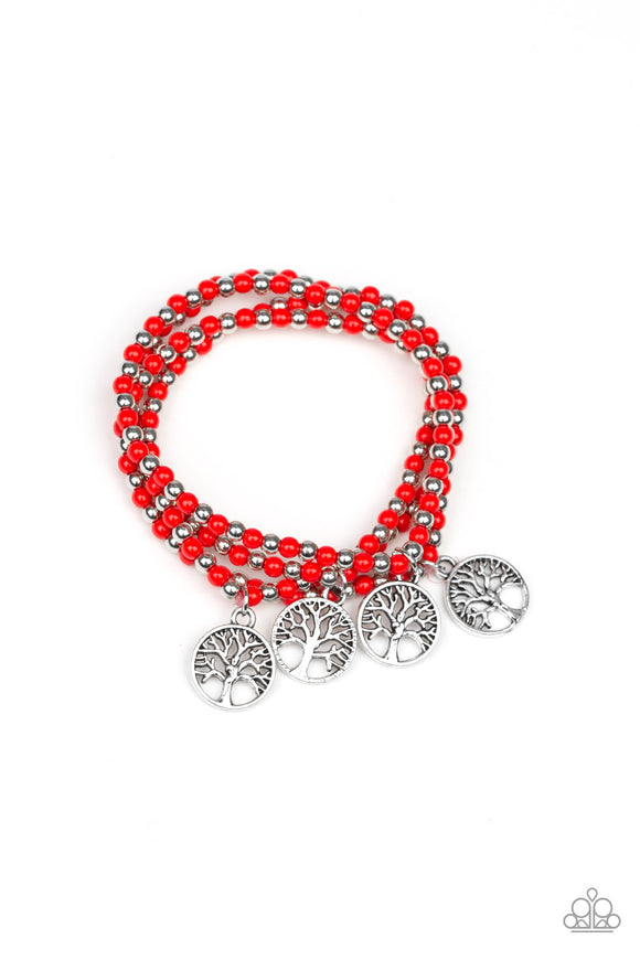 Paparazzi Plant A Tree - Red Beads - Tree of Life Charm - Set of 4 Bracelets