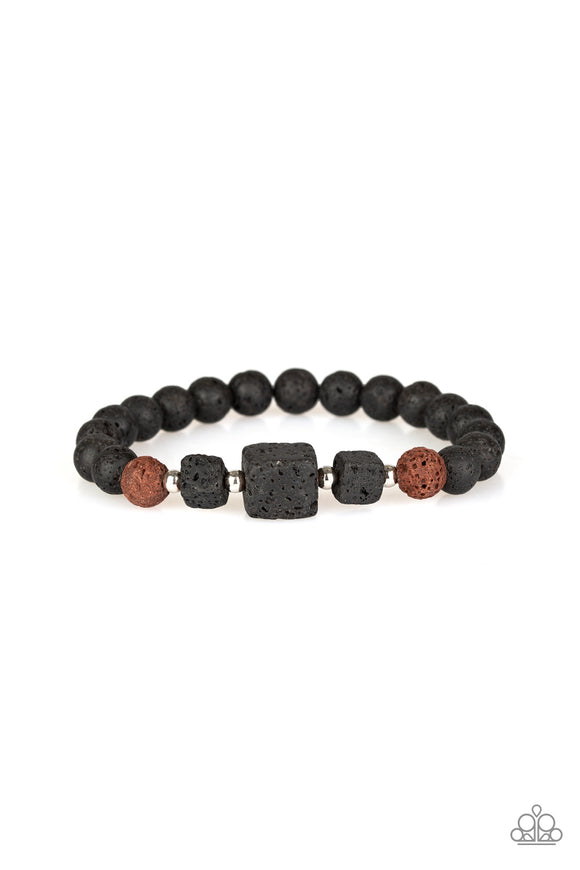 Paparazzi Refreshed and Rested - Brown - Lava Rock Bracelet