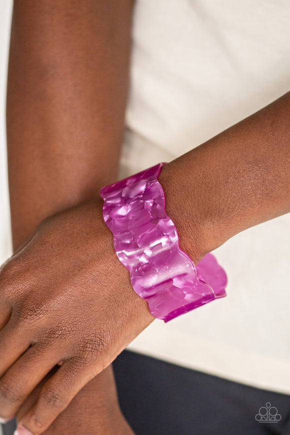 Paparazzi Retro Ruffle - Purple - Scalloped Acrylic Cuff - Bracelet