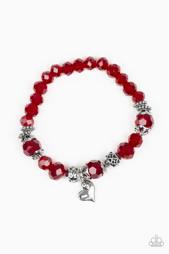 Paparazzi Right On The Romance - Red - Ornate Silver Beads - Heart Charm - Stretchy Bracelet