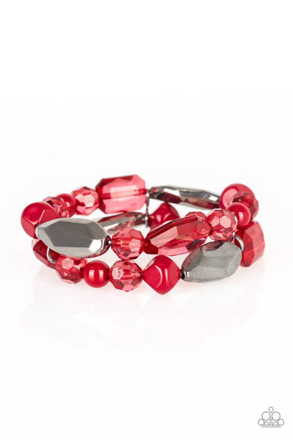 Paparazzi Rockin Rock Candy - Red and Gunmetal Beads - Stretchy Bracelet - Lauren's Bling $5.00 Paparazzi Jewelry Boutique