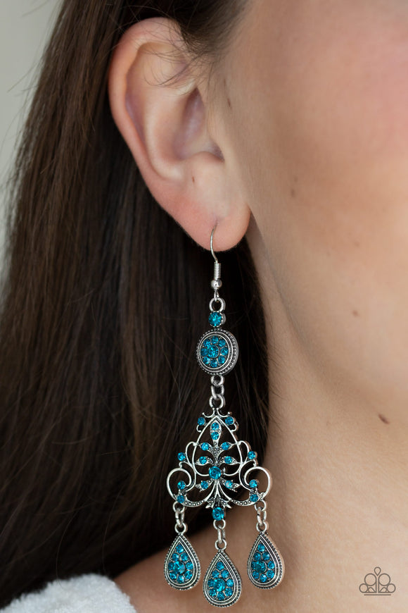 Paparazzi Royal Renovation - Blue Rhinestones - Silver Teardrops - Ornate Silver Earrings - Lauren's Bling $5.00 Paparazzi Jewelry Boutique