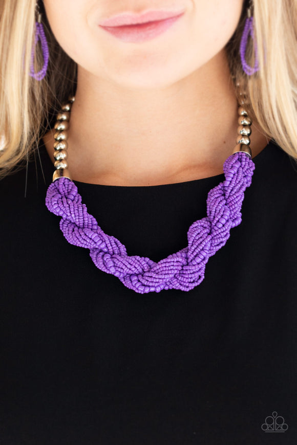 Paparazzi Savannah Surfin - Purple - Seed Beads - Necklace and matching Earrings