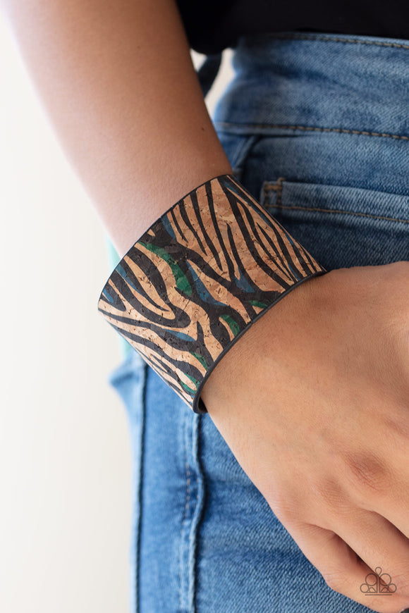Paparazzi Show Your True Stripes - Blue - Cork Bracelet - Life of the Party Exclusive April 2020