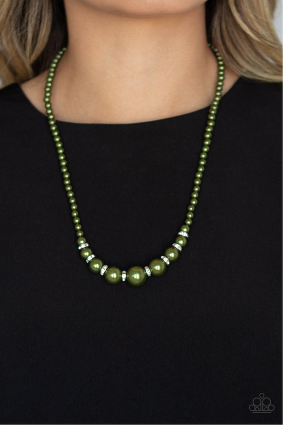 Paparazzi SoHo Sweetheart - Green Pearls - White Rhinestones - Necklace and matching Earrings - Lauren's Bling $5.00 Paparazzi Jewelry Boutique