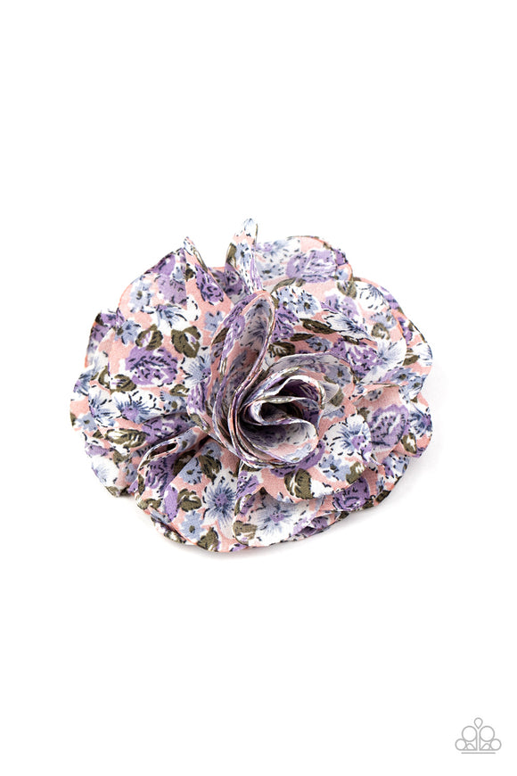Paparazzi Springtime Sensation - Multi - Purple Plush Floral Pattern - Hair Clip