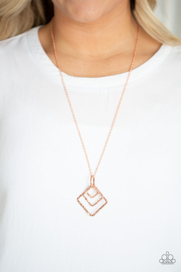 Paparazzi Square It Up - Copper - Square Frames - Necklace and matching Earrings - Lauren's Bling $5.00 Paparazzi Jewelry Boutique