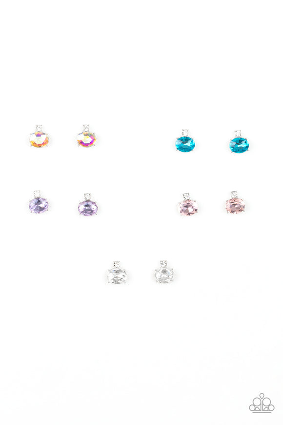 Paparazzi Girls Starlet Shimmer Post Earrings - 10 - Multicolored Gems & White Rhinestones - OIL SPILL!