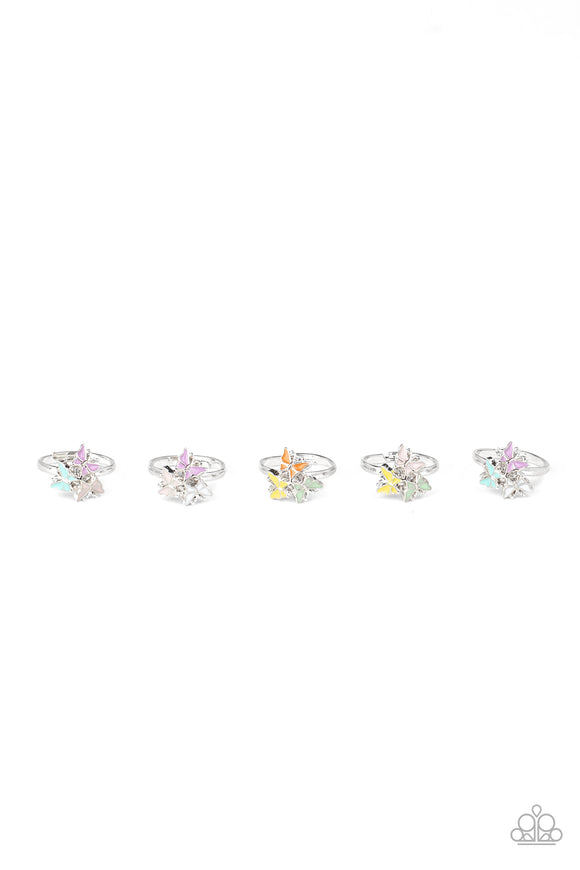 Paparazzi Girls Starlet Shimmer Rings - 10 - Trio of Butterflies - Orange, Green, Blue, Purple, White, Pink & Yellow
