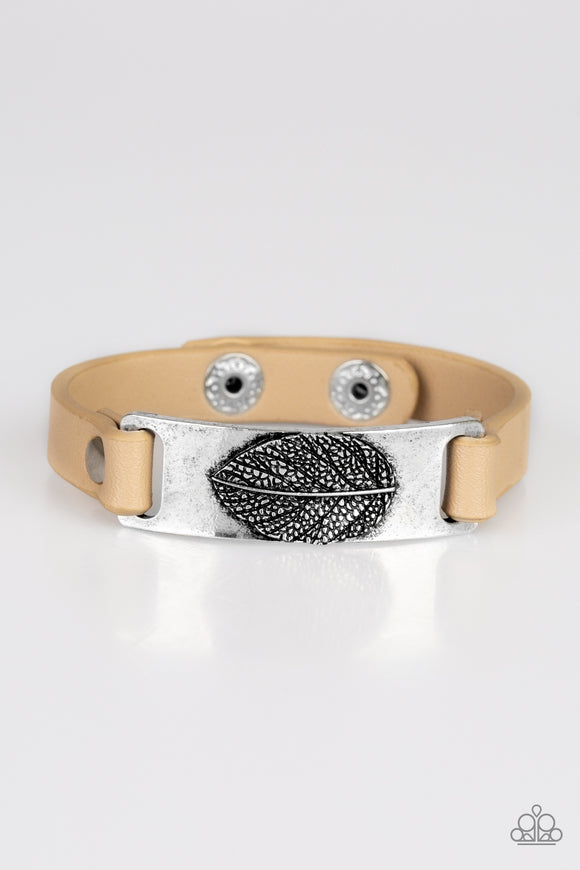 Paparazzi Take The LEAF - Brown Leather - Silver Antiqued Finish Embossed Plate - Snap Bracelet - Lauren's Bling $5.00 Paparazzi Jewelry Boutique