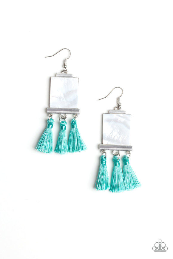 Paparazzi Tassel Retreat - Blue - Shell Like Thread / Fringe - Earrings