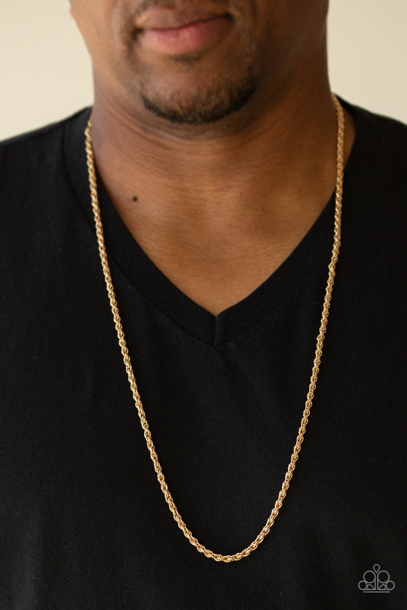 Paparazzi The Go-To Guy - Gold - Rope Chain Necklace - Men's Collection