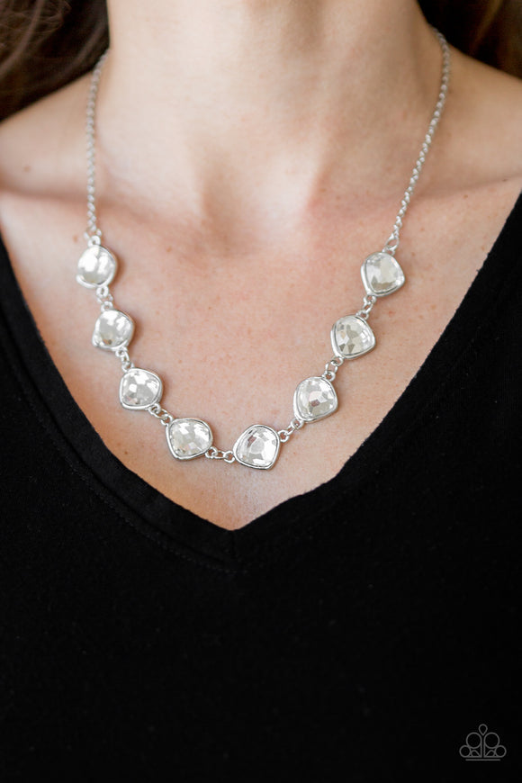 Paparazzi The Imperfectionist - White - Glassy Gems - Necklace & Earrings