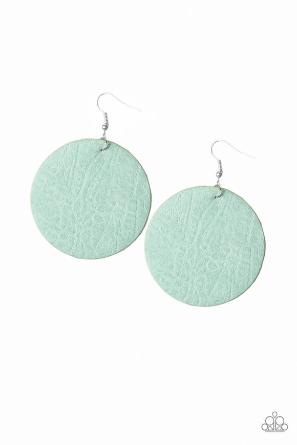 Paparazzi Trend Friends - Green Leather - Textured Finish - Fishhook Earrings - Lauren's Bling $5.00 Paparazzi Jewelry Boutique