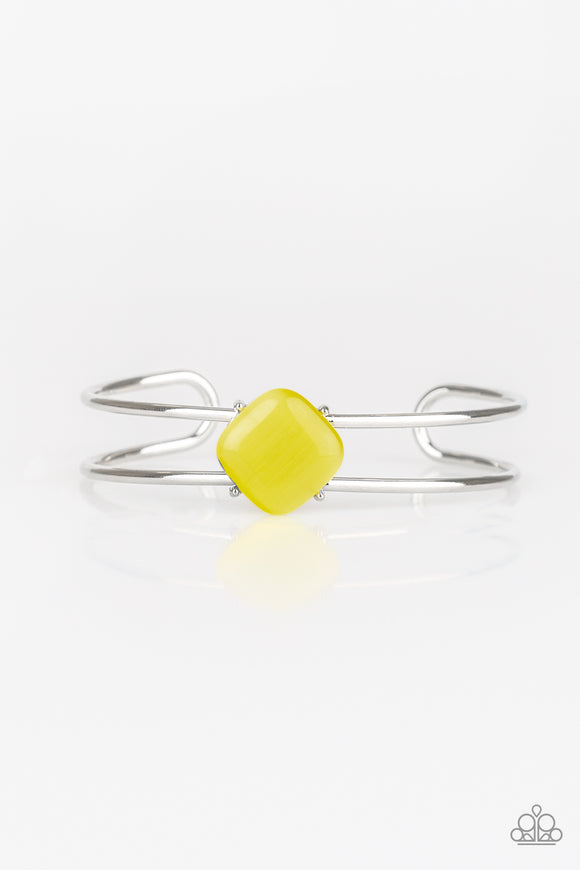 Paparazzi Turn Up The Glow - Yellow Moonstone - Silver Cuff Bracelet