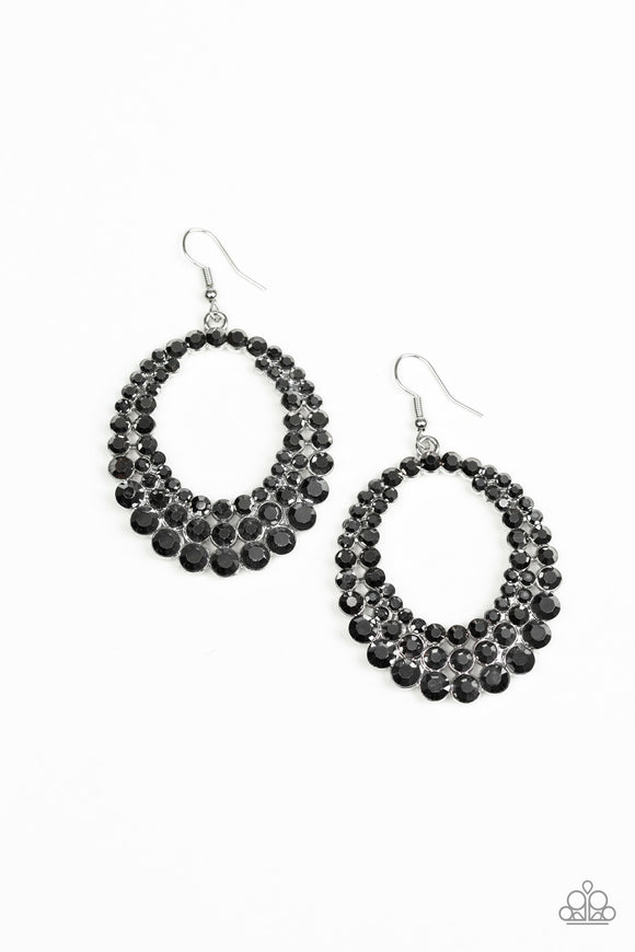 Paparazzi Universal Shimmer - Silver Hematite Rhinestones - Earrings - Life of the Party Exclusive July 2019