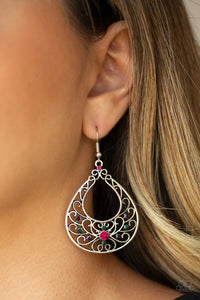 Paparazzi Vine Shine - Multi - Rhinestones - Silver Teardrop Earrings - Lauren's Bling $5.00 Paparazzi Jewelry Boutique