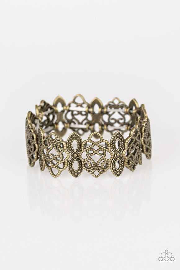 Paparazzi When Yin Met Yang - Brass - Studded Detail - Ornate Stretchy Band Bracelet - Lauren's Bling $5.00 Paparazzi Jewelry Boutique